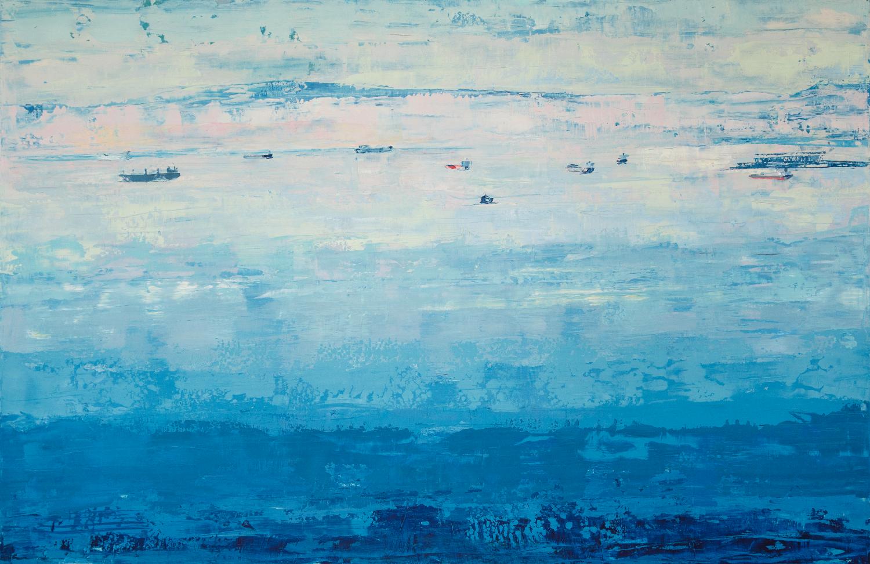 "Far & Wide,  2012, 48""x74"", oil on wood panel"