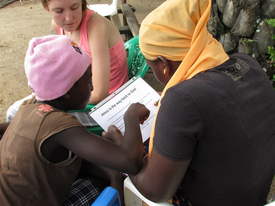 Megan Comer in Liberia sharing Christ with the teens