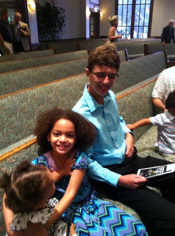Josiah Nielsen at church in Birmingham,ALloving and serving people!