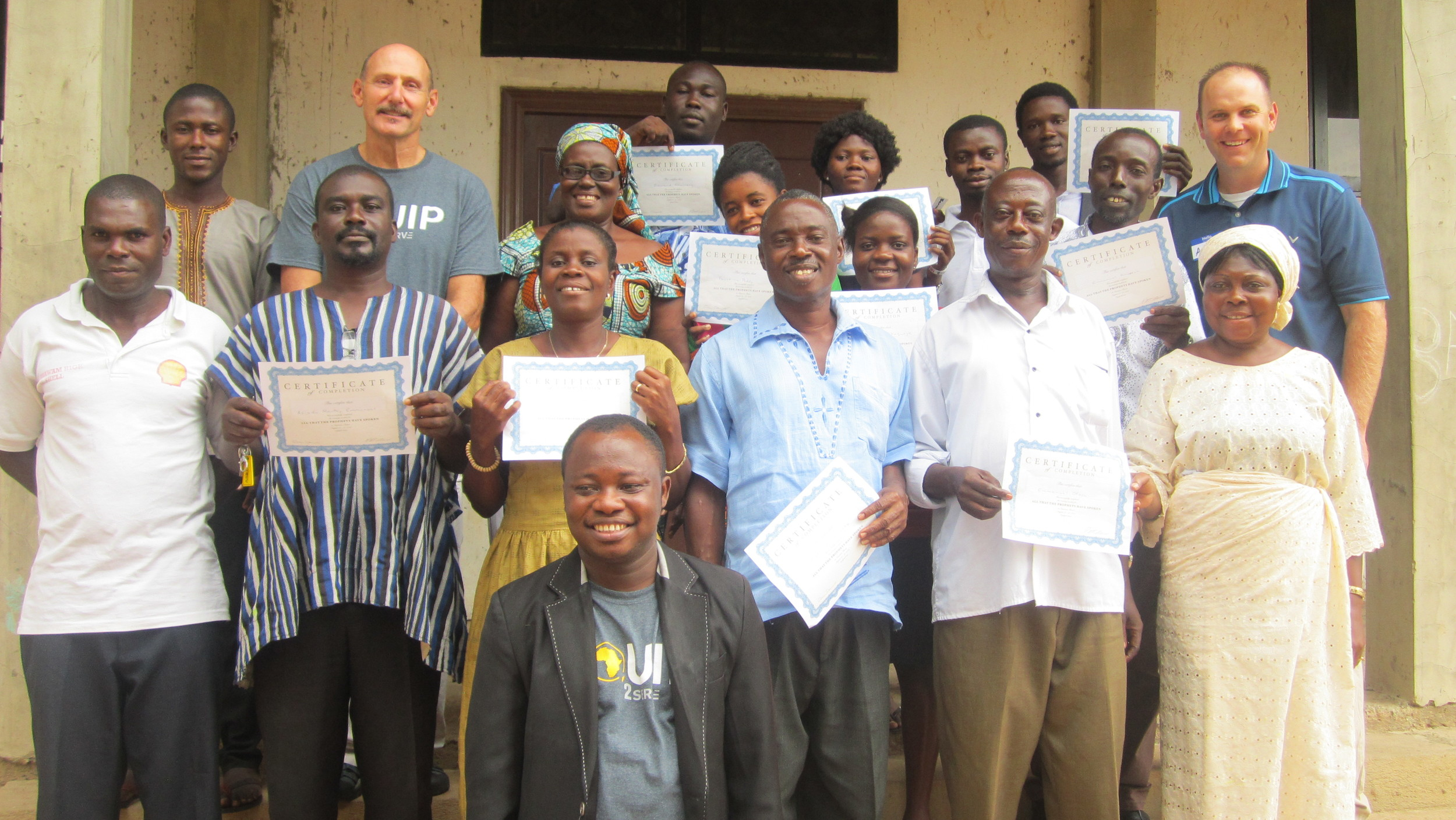 Nsawam group receive their certificates of completion