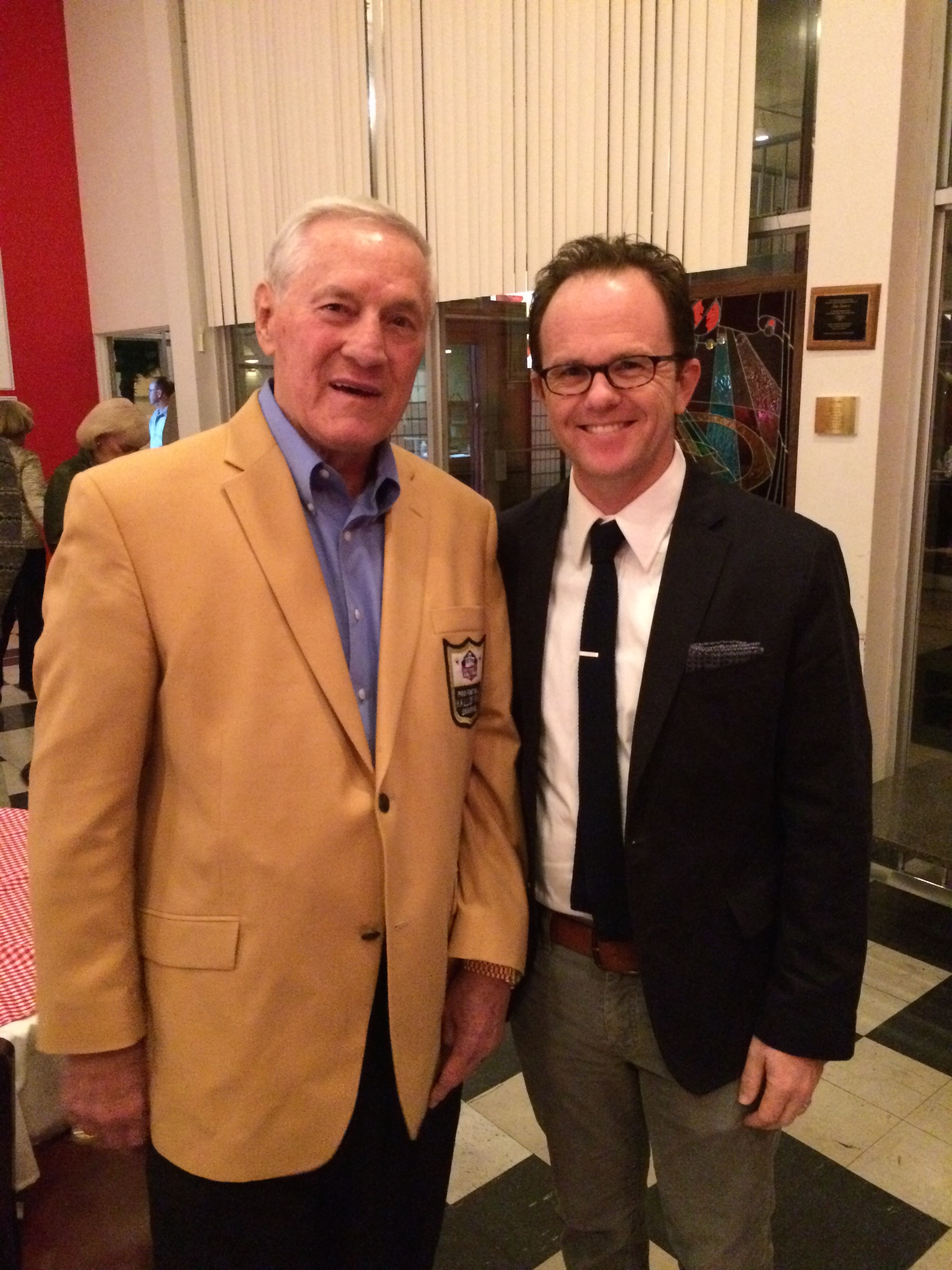 With Jim Taylor at the opening of  Lombardi.