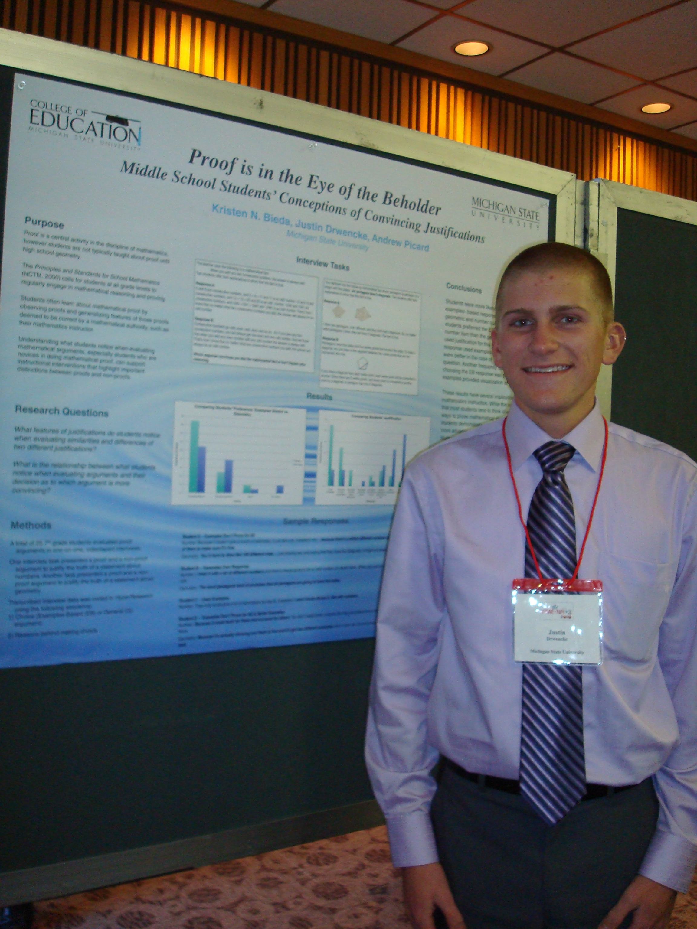 Professorial Assistant Justin Drwencke (B.A., 2012) presenting at PME-NA 2010