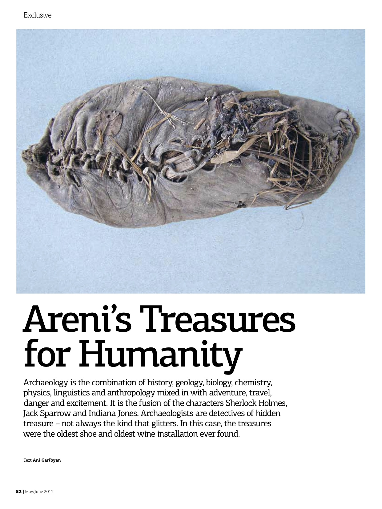 Areni's Treasures for Humanity    Dig deeper into the ancient world of wine, shoesand historic rituals with Dr. Gregory Areshian ofthe Cotsen Institute of Archaeology at UCLA