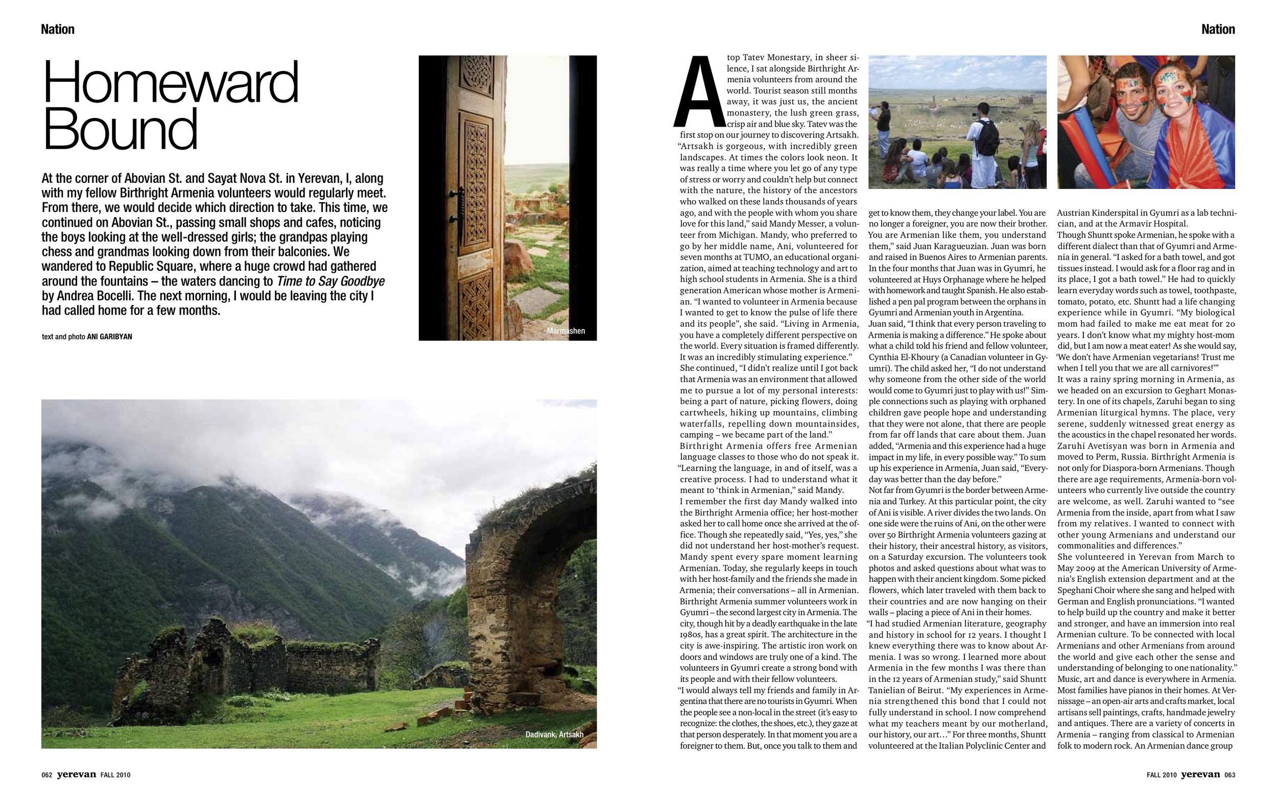Homeward Bound    Birthright Armenia: The journey to self-discovery