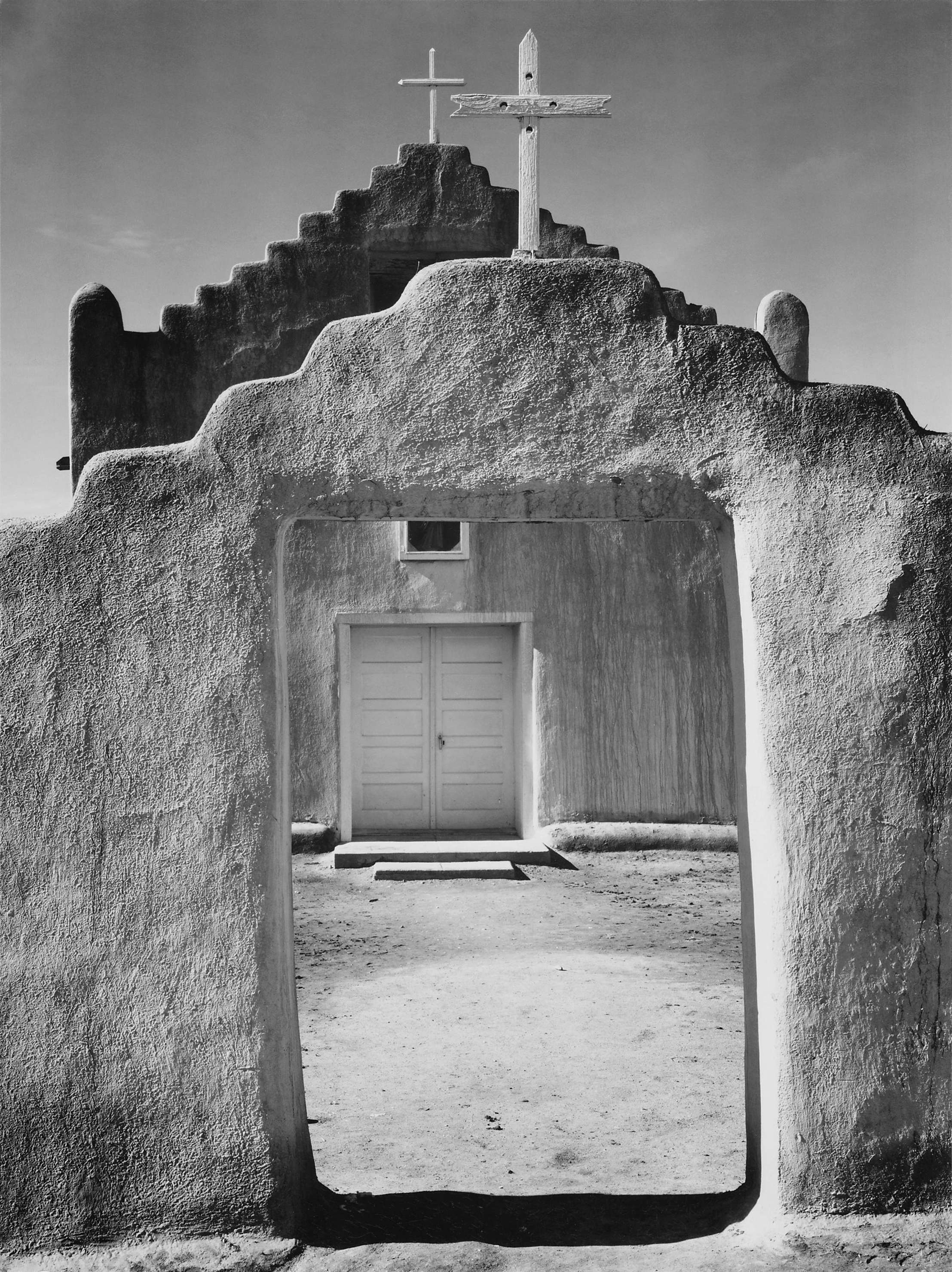 What first interested me in Taos was this Ansel Adams photo of the church, taken in 1941.