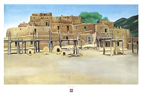 The area in general has attracted thousands of people including artist Georgia O'keefe who painted this painting showing the main structure of the pueblo, in 1929.