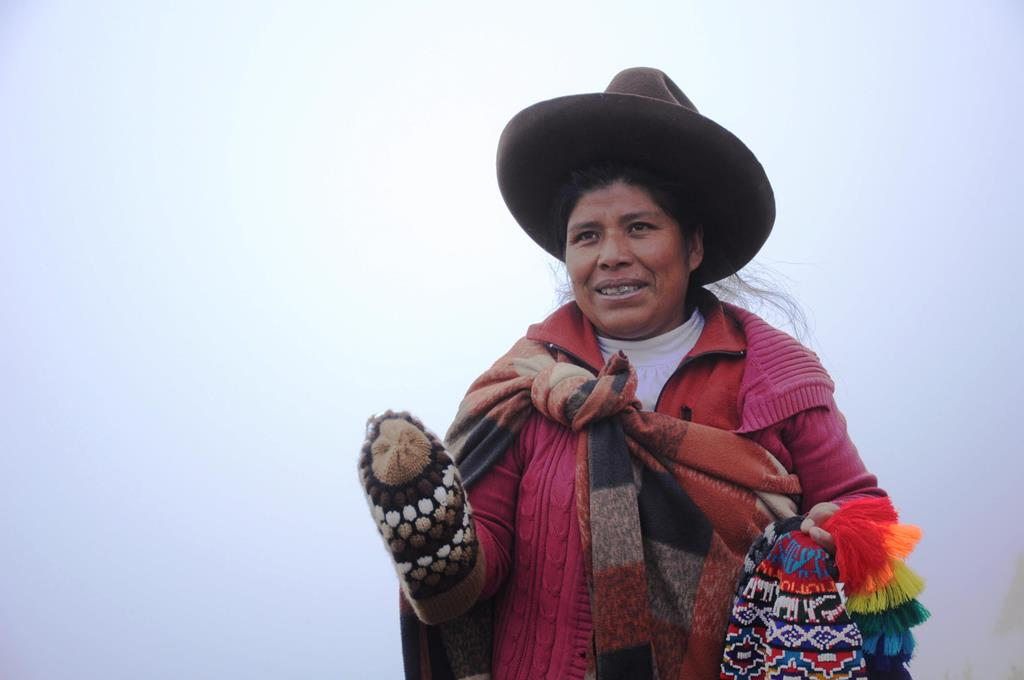 Local villager selling handmade crafts