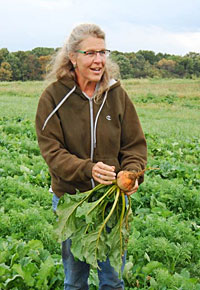 Video host, Ellen Polishuk, on her farm in Virginia.