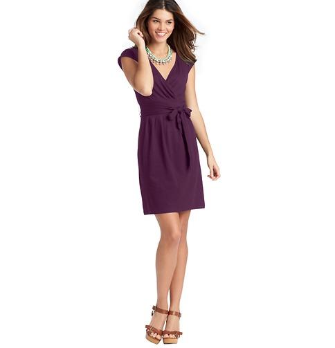 Tie Waist Cap Sleeve Dress   Color:Purely Plum  ORG: $49.50  SALE: $25.00  FINAL PRICE: $20.00