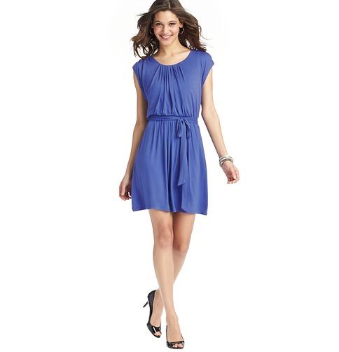 Shirred Neck Tie Waist Dress    Color: Bombay Blue  ORG: $69.50  SALE: $54.98  FINAL PRICE:$21.95