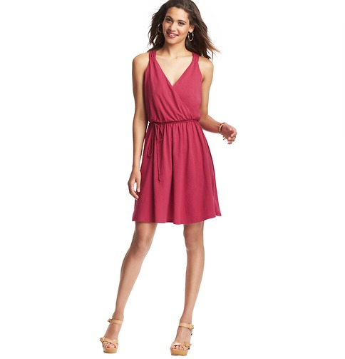 Braided Tie Waist Sleeveless Cotton Dress    Color:Cherry Red  ORG: $59.50  SALE: $25.00  FINAL PRICE: $20.00