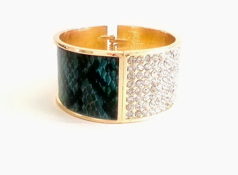 Persian Green Snakeskin and Crystal Bangel by Lydell NYC          40.00