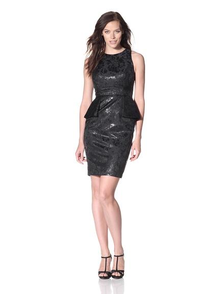 Carmen Marc Valvo Brocade Cocktail Dress with Peplum  Sleeveless dress in a metallic brocade with partial peplum and hidden back zipper  REG $565      SALE $169
