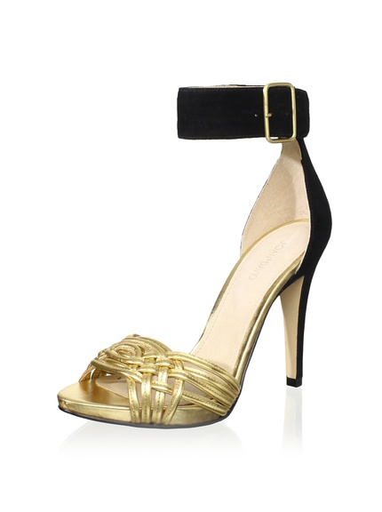 Joan & David Collection Siona Sandal  Striking 2-tone look with interwoven metallic vamp straps, buckled ankle band and matching sky-high heel.  ORG $160       SALE $80