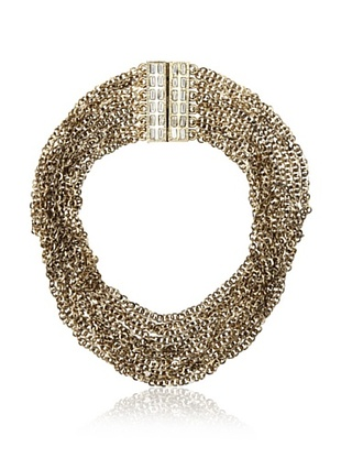 Golden Chunky Chain Choker  Weighty multi-chain design is ultra-glam with a bold crystal-studded magnetic clasp  ONLY $53