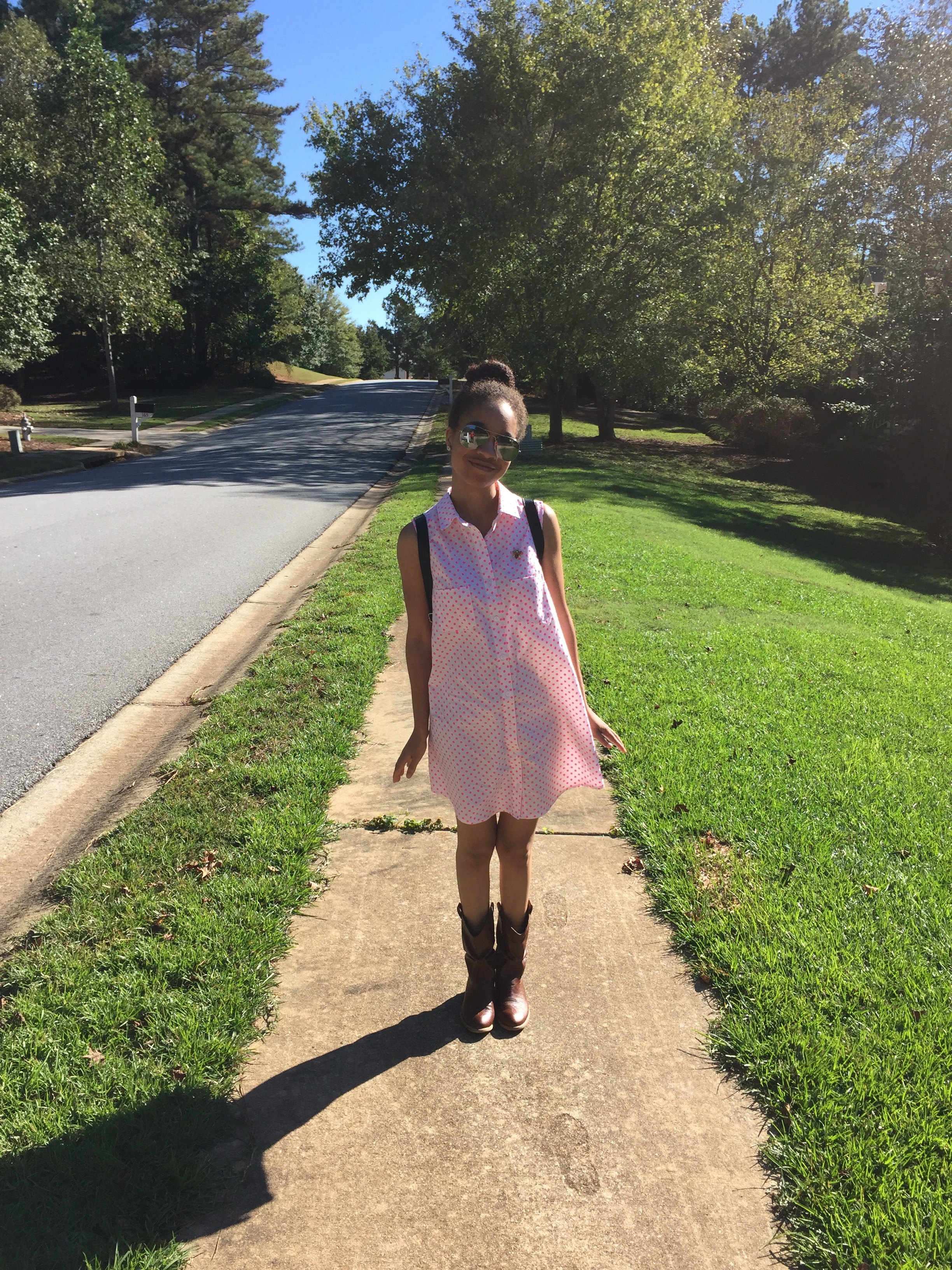 Dress | Alder Shirtdress // Boots | Macy's sales rack (old) // Backpack | PINK by Victoria Secret