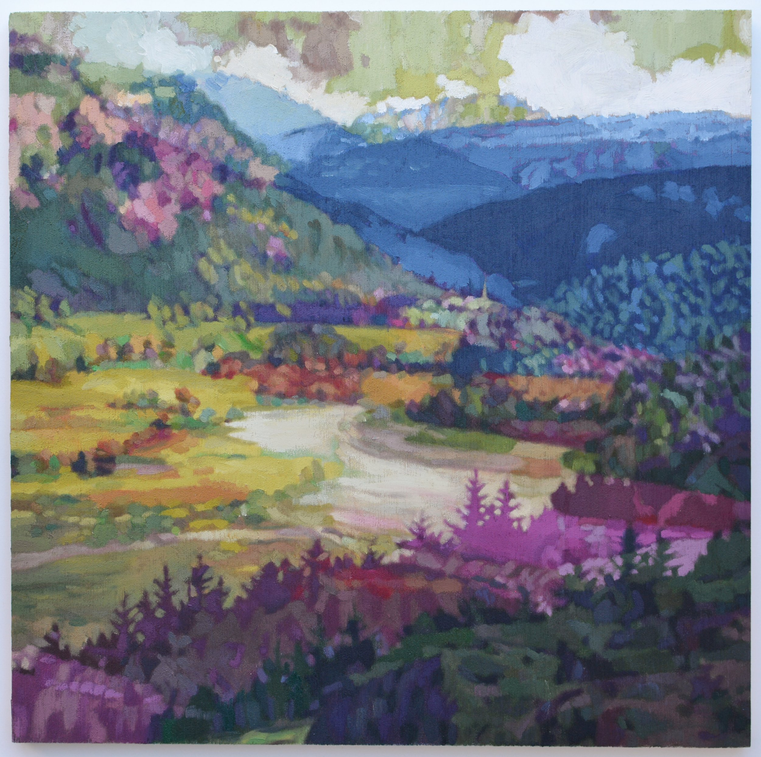 Ribbon Lake (Magenta), oil on wood, 20x20cm, 2018