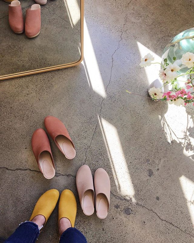 """Coming up on 7 years in California and I *finally* ordered my first pair of @bryrclogs last month, which in my mind makes me an official San Franciscan 😂. Each pair is made to order in SF and I seriously cannot WAIT until they're here! (I did not get these yellow ones, but you know I was tempted). . When we first moved to the Bay Area, I thought we'd be here a couple of years at most... and then move back to the east coast. It felt like a temporary place — this land of no seasons and no bugs 🤔. I didn't think this place would ever feel like home to me. But here I am, excited about handmade clogs, addicted to chai lattes and oat milk, and even considering getting a dog (?!) My 22 year old self would be rolling her eyes. Hell, I roll my eyes at myself now 😂 . But seeing as how my word of the year is """"embrace"""", I'm just going to let myself embrace this chapter of my life even if it is painfully stereotypical 😅. . Counting the days until my Bryr clogs are on my feet. Come to mama! 💃🏻"""
