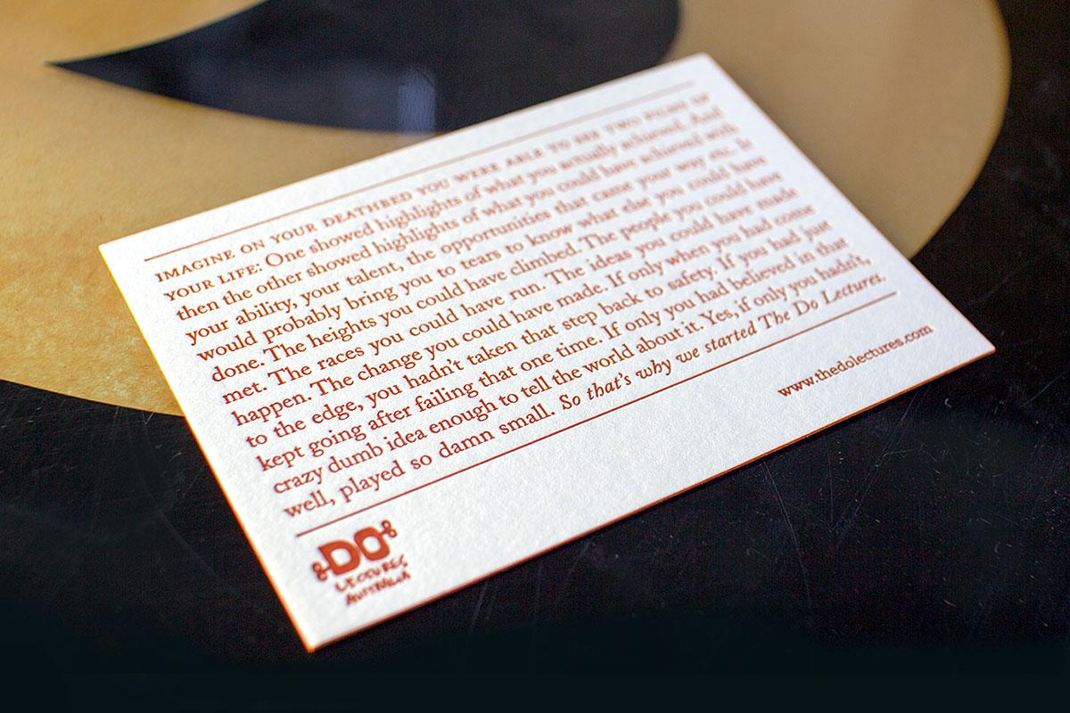 Do Lectures Australia letterpress postcard