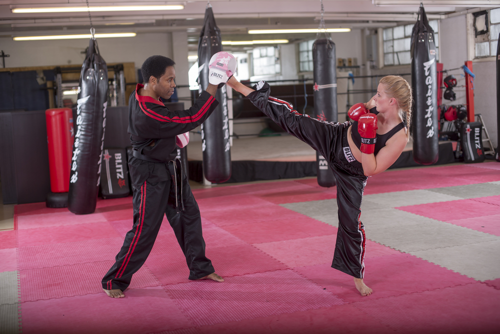 Cardio Kickboxing - Mixture of Kickboxing, Thai boxing, boxing. Cardio calisthenics,Bag work & pad workCore strengthening and weight loss exercises.What to Wear:Bare feet, athletic wear, hand wraps and boxing gloves are required (available at DFC)