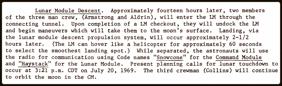 This is an excerpt from this amazing 1969 Technical Informantion Summary  for NASA's Apollo 11 mission
