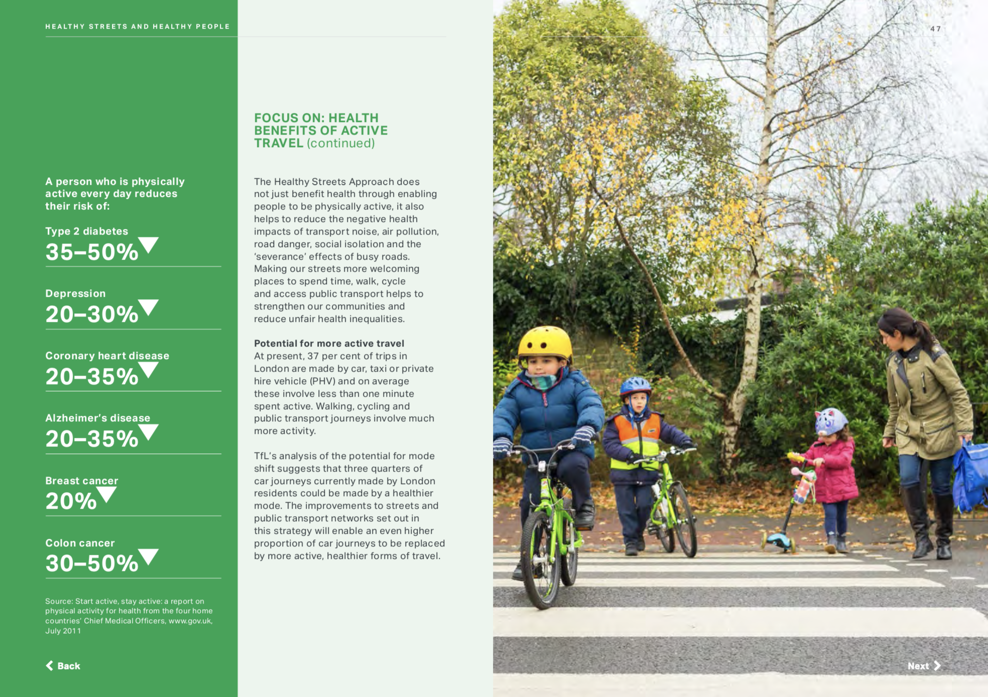 An example spread from the Mayor's Transport Strategy, featuring one of my photographs