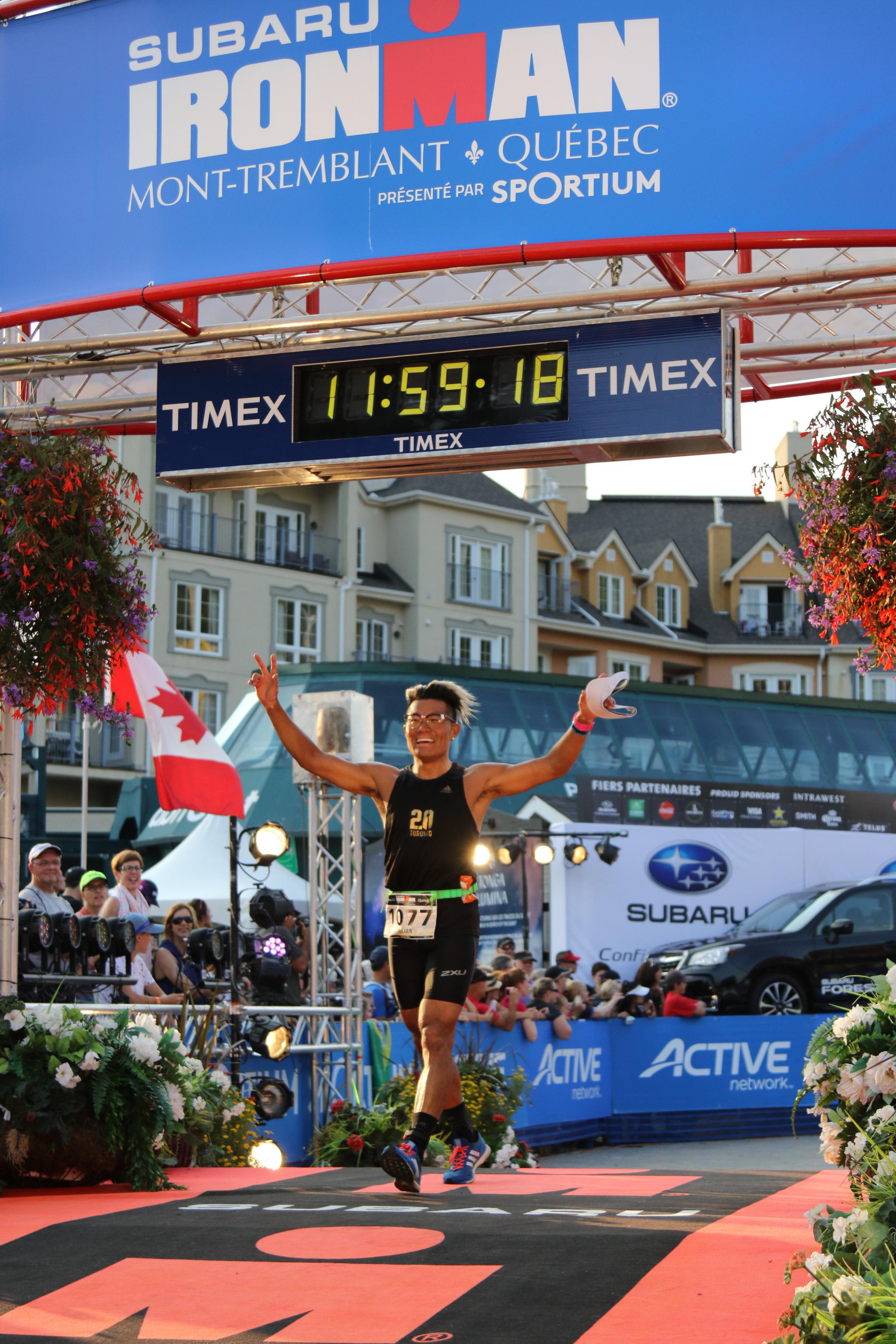 Swim 3.8km, Bike 180km, Run 42.2km. Completed my first Full Ironman in Mont Tremblant on Sunday, August 20th, in a time of 11 hours and 36 minutes. Ranked 407 out of 1937 racers.