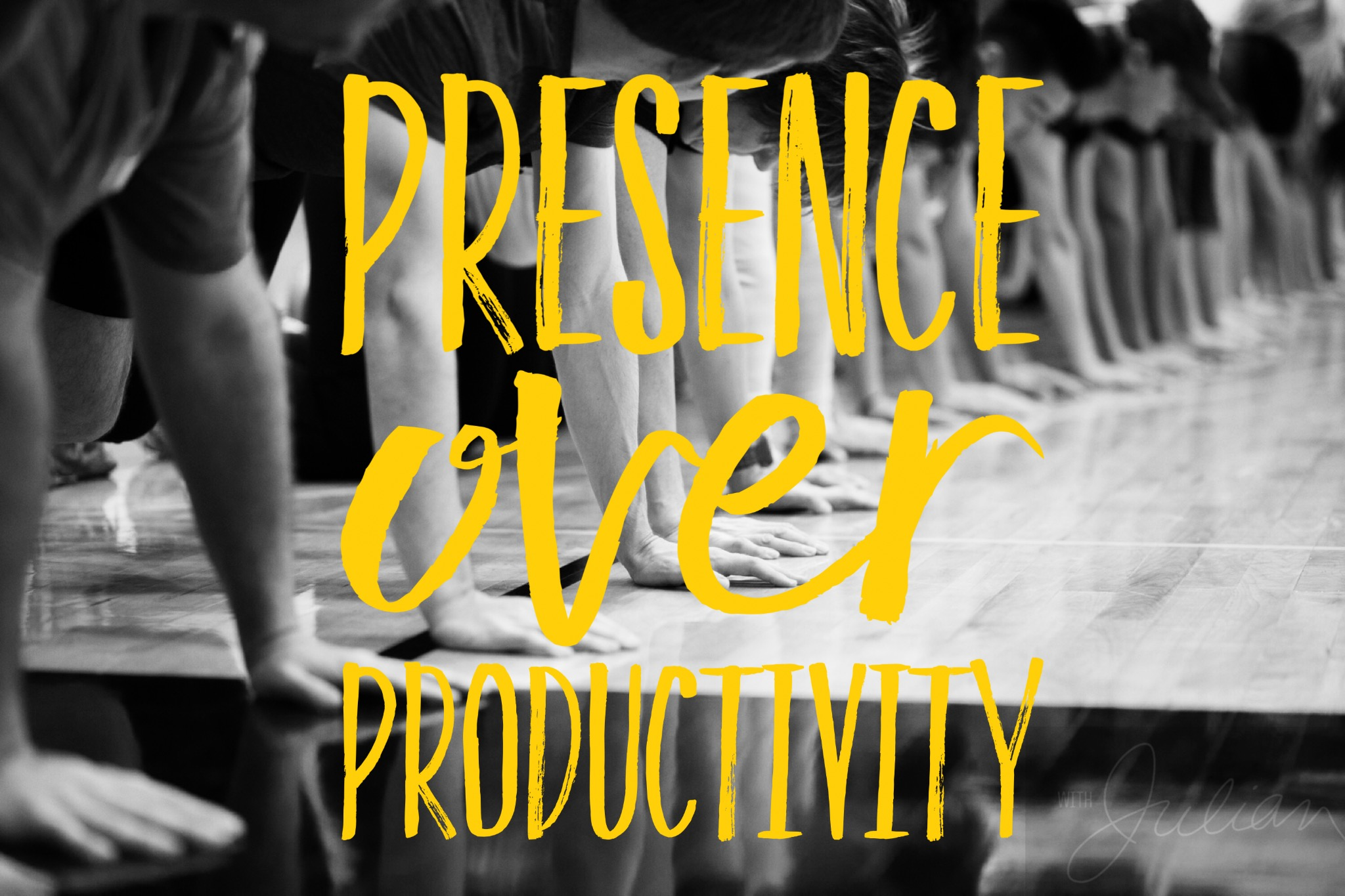 PRESENCE OVER PRODUCTIVITY   Simply put, being present is being productive. Focus deeply on one thing at a time, rather than a million things at once. When our attention is channeled and present, we unlock our most productive mental states: flow, mindfulness, self-awareness, proprioception, and peace of mind.
