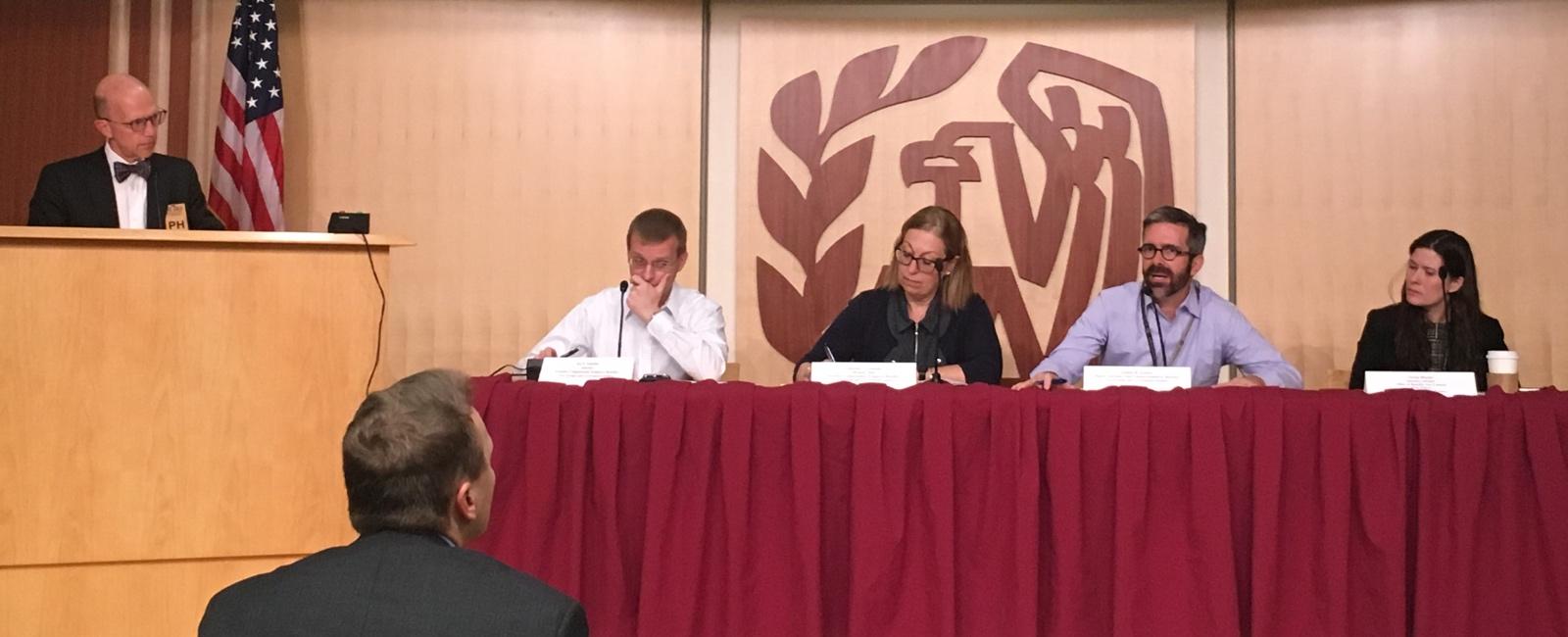 Kirk Sherman presenting to IRS panel. (Photo credit: Norma Sharara)