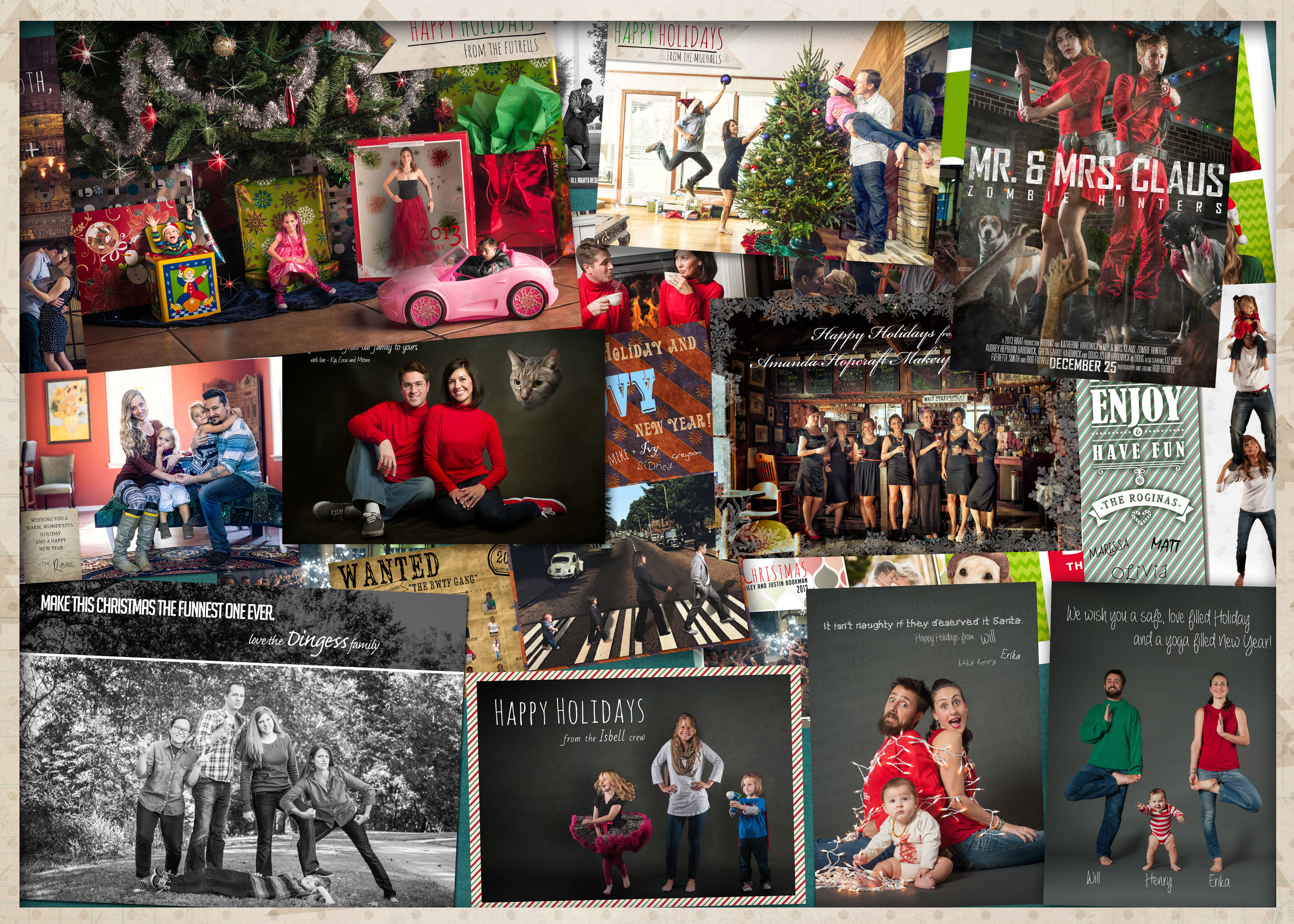 A collage of this years holiday cards.