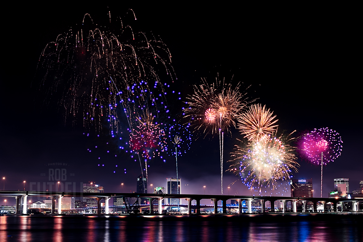 4th of July fireworks from Memorial Park in Riverside in Jacksonville, FL. This is from last year (2013).