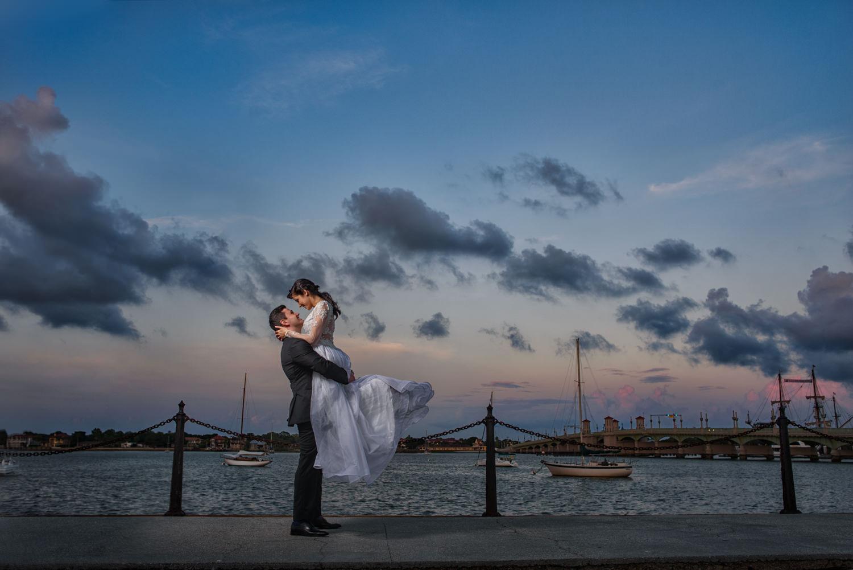 bride-groom-sunset-bridge-of-lions-st-augustine