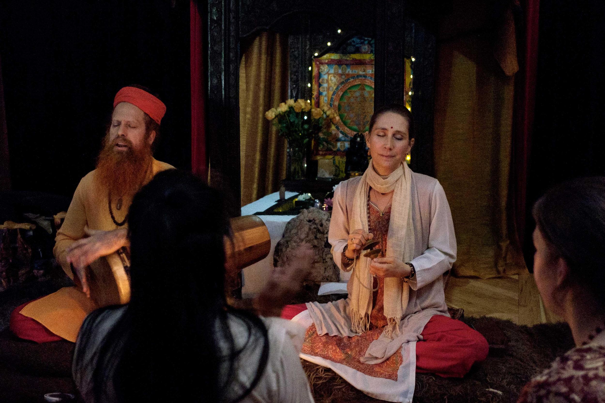 Our Gurus, Sri Bhagavan VaShi Baba and Sri Mirabai Ishwari, leading Kirtan before Satsang, teachings for the disciples of Hridaya Hermitage.