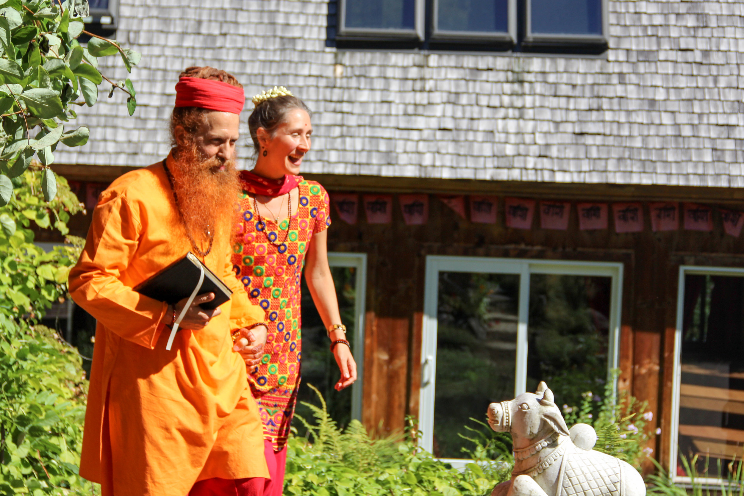 """Our Gurus, lovingly and respectfully known as Baba and Amma, """"Father and Mother"""", after leading the marriage ceremony held for Bhavani and Amara, residant Yogis at Hridaya Hermitage."""