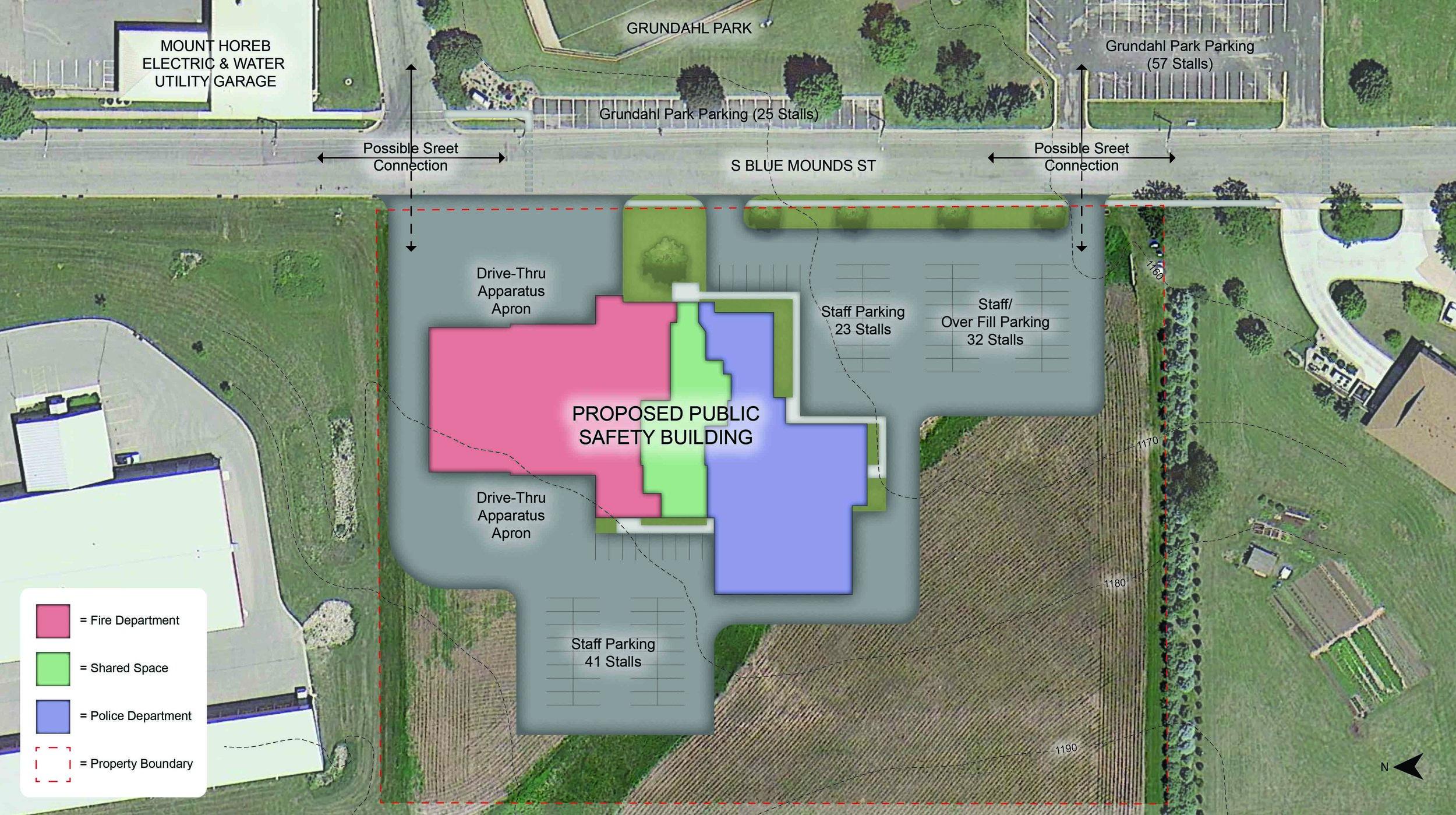 Conceptual Site Plan of Mount Horeb Public Safety Building