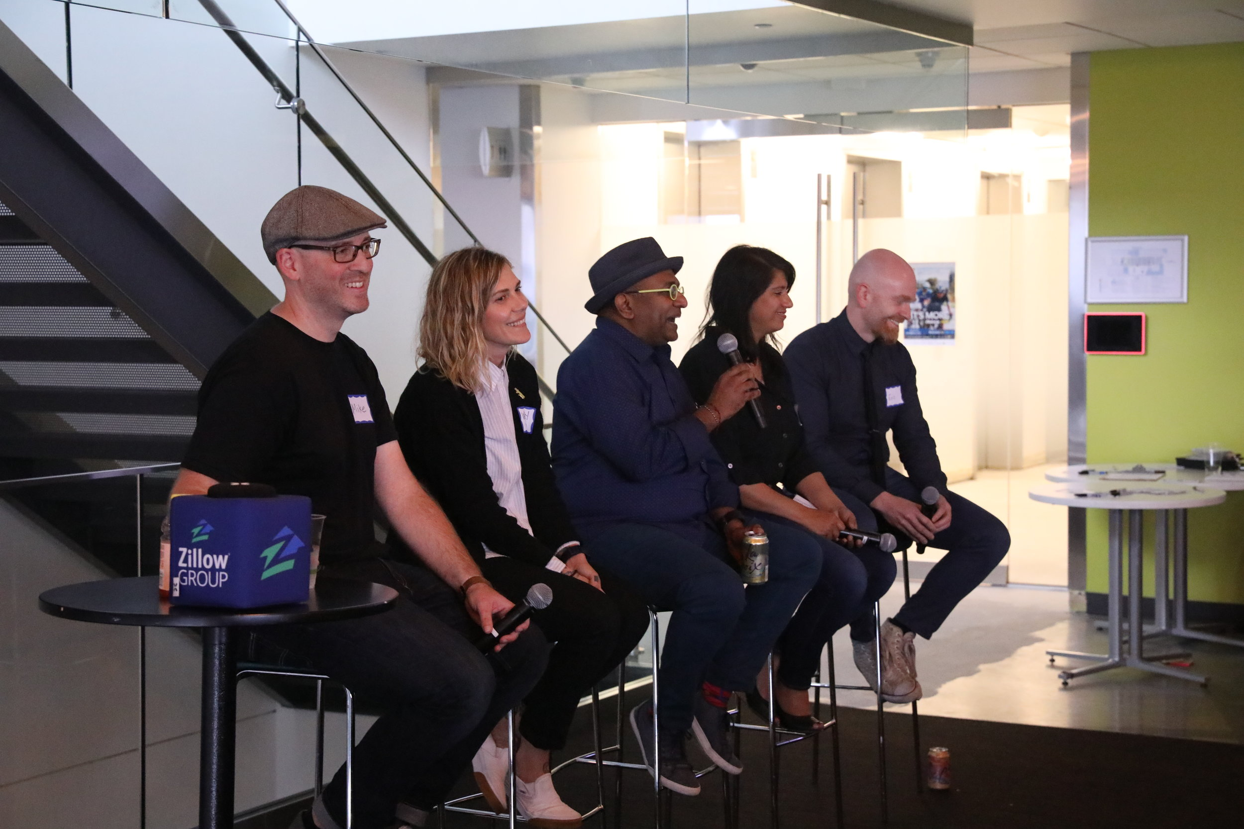 Panelists speaking at Zillow on implementing design processes in changing culture.