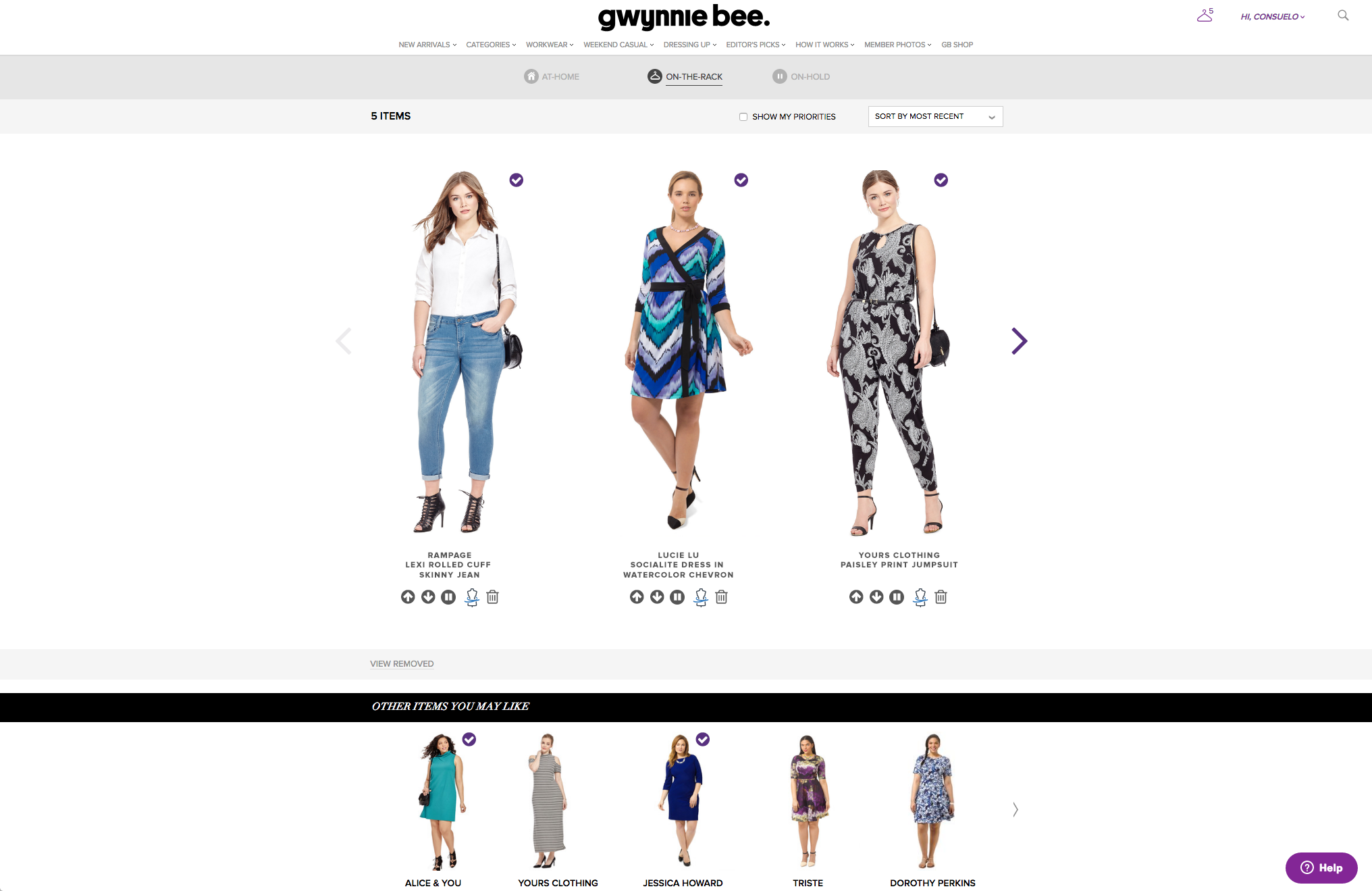 """Re-imagined Virtual Closet. The items are in order of your prioritization, you can move the order by clicking & dragging, or by using the icons. The """"Dress Form"""" icon is where you make size changes. I love the larger photograph, wth the garment name visible without clicking. I also like the idea of scrolling through the larger images to see what's On-The-Rack. I would suggest a similar layout for the At-Home section."""