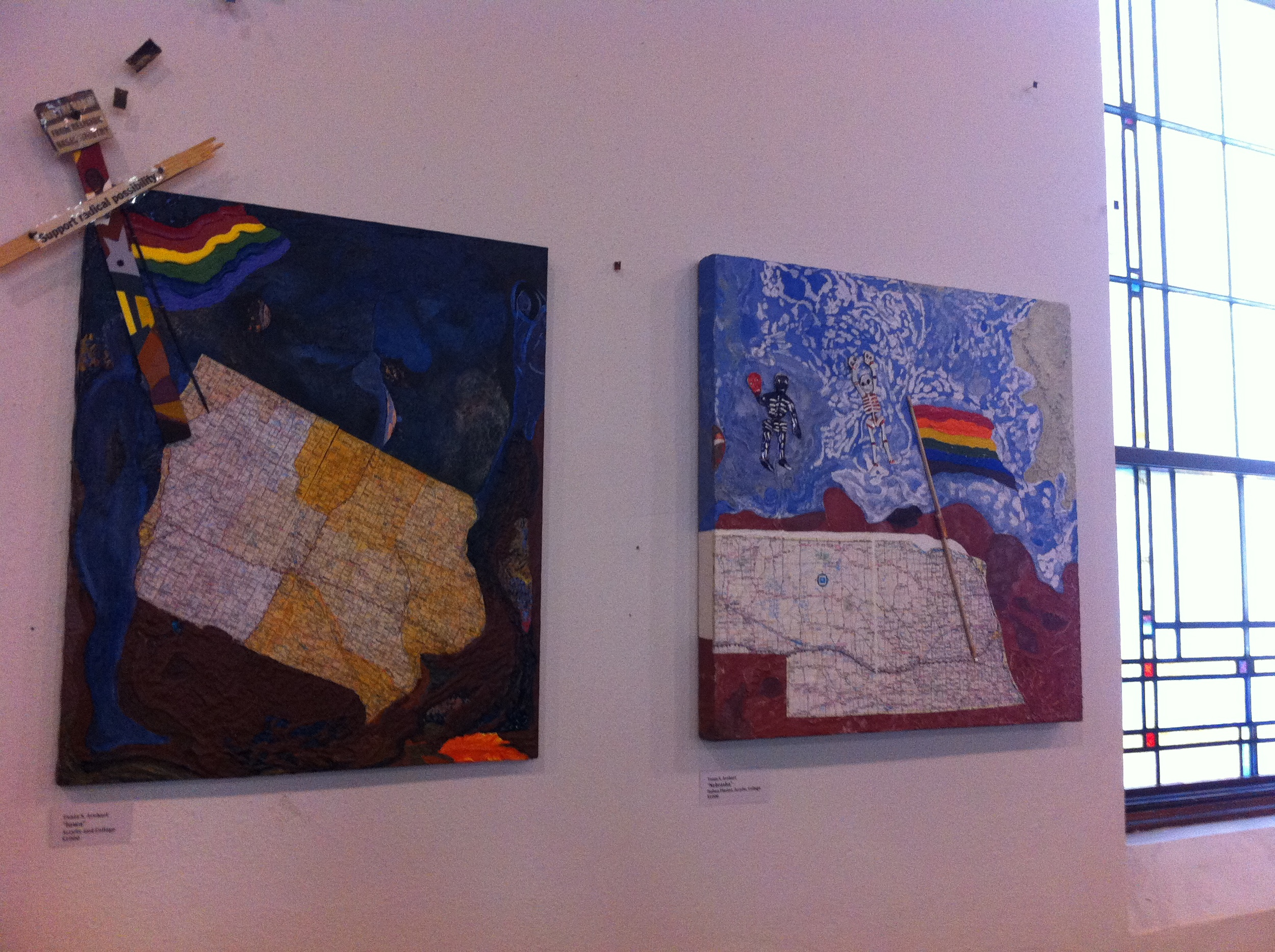 Pair of collage pieces hung for the June 2013 Capitol Hill Art Walk