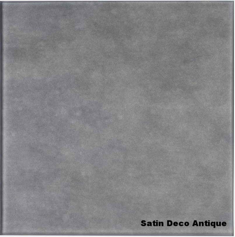 Satin Deco Antique   Acid etched glass antique silvered on etched side