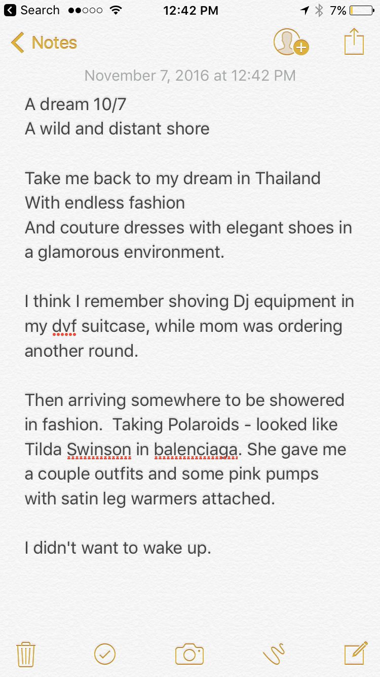 When you wake up and keep wishing that your dream adventure won't stop, but thankfully you can remember it and it keeps playing over and over. I keep looking down at the pink satin pumps with leg warmers attached. Parading around a room in a long sequence dress. Smiles today.