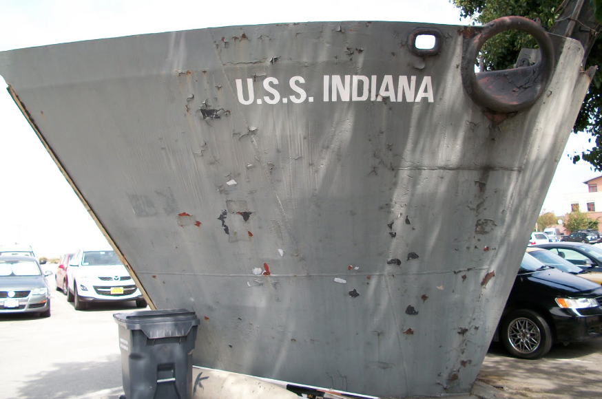 The prow of the U.S.S Indiana which will be on display outside of Memorial Stadium beginning this fall.