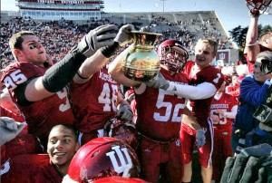 The Hoosiers hosting the Old Brass Spittoon after their 2006 victory