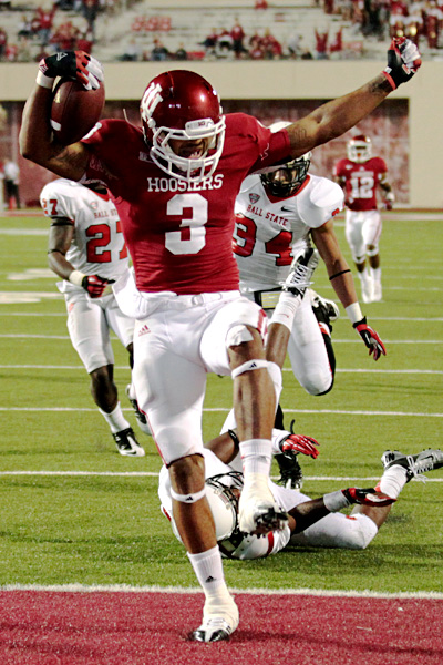 Cody Latimer celebrates getting into the end zone against Ball State in 2012.