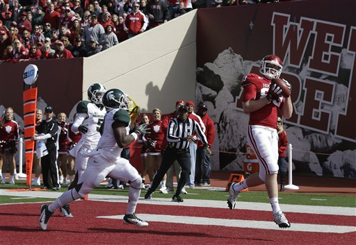 Tight End Ted Bolser makes the touchdown catch vs Michigan State