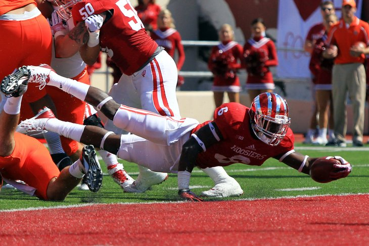 Tevin Coleman put forth a great effort as the Hoosiers come up short against Bowling Green. Image Source: Thehustlebelt.com
