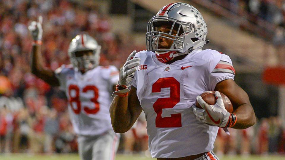 J.K. Dobbins races to the end zone Getty Images