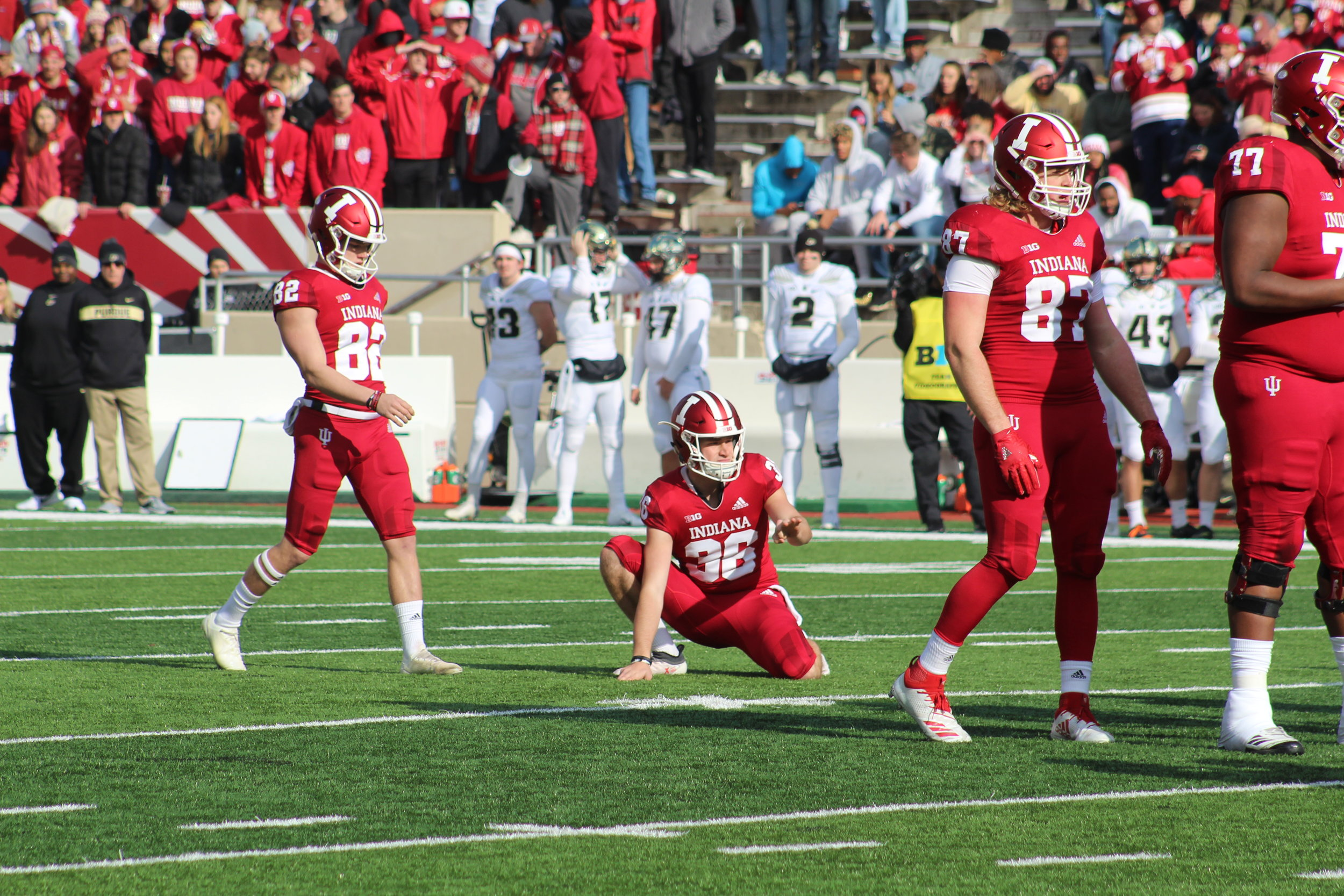 Logan Justus lines up for a field goal  Image: Sammy Jacobs Hoosier Huddle