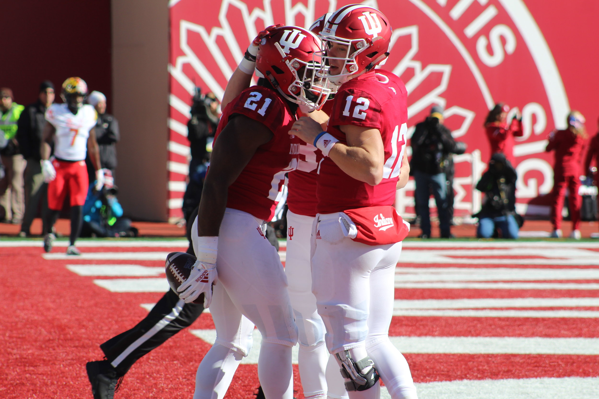 Stevie Scott (21) and Peyton Ramsey (12) celebrate in the end zone  Image: Sammy Jacobs