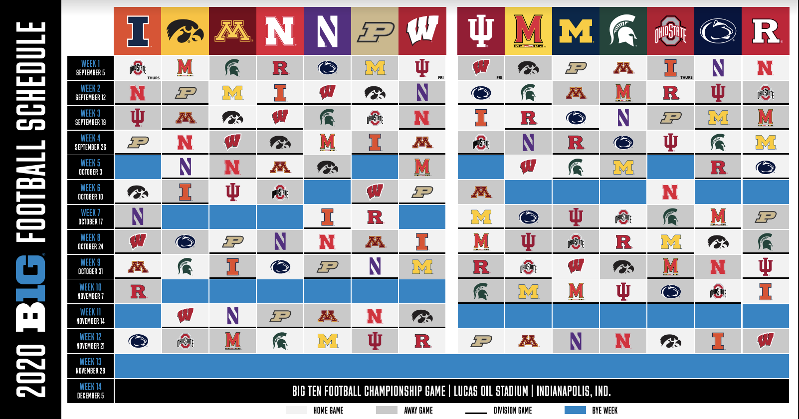Big Ten Announces Revised Fall Football Schedule Hoosier Huddle