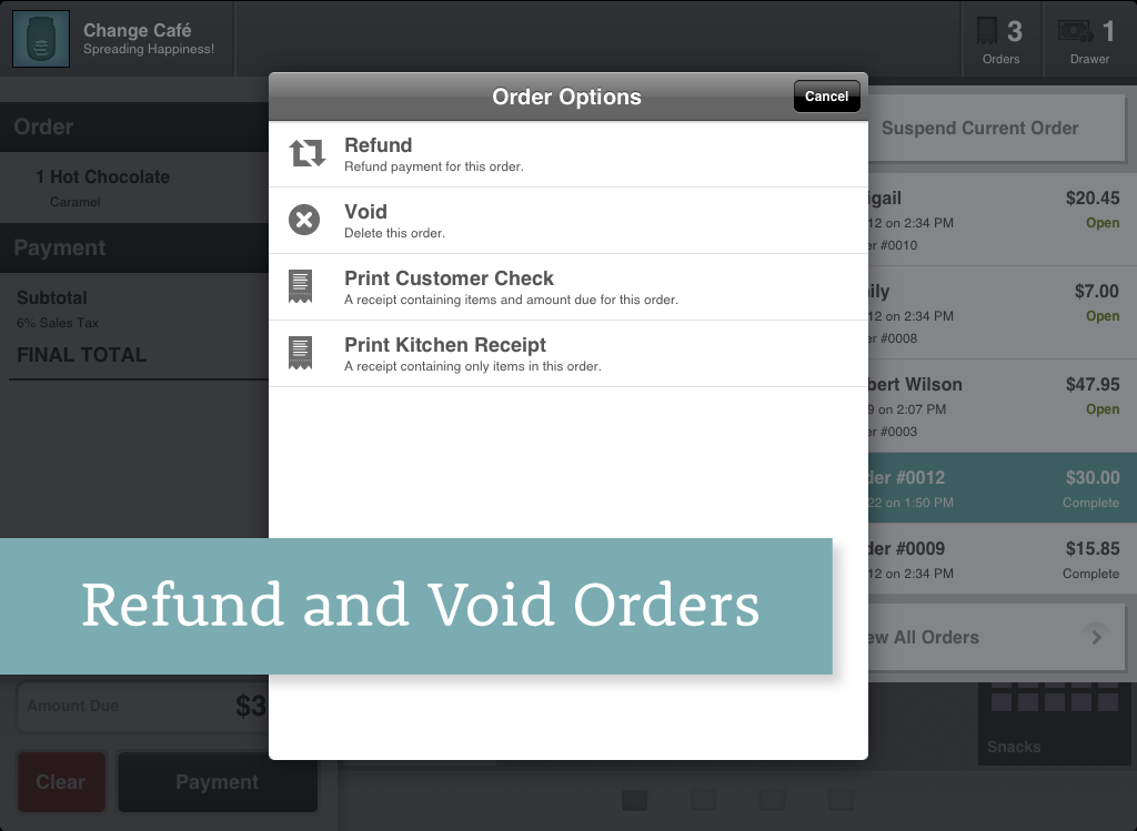 Change Refund and Void Orders